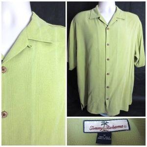 Tommy Bahama M Green 100% Silk Textured Shirt